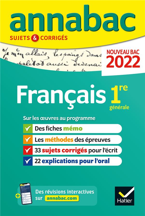 ANNALES DU BAC ANNABAC 2022 FR BERNARD/DAUVIN/SPIES HATIER SCOLAIRE