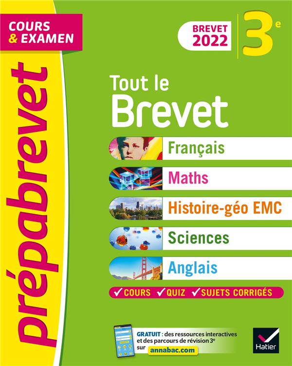 PREPABREVET COURS et EXAMEN  -  TOUT LE BREVET  -  3E (EDITION 2022) BUREAU, CAROLINE  HATIER SCOLAIRE