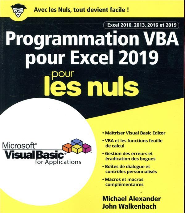 PROGRAMMATION VBA POUR EXCEL POUR LES NULS (EDITION 2019)