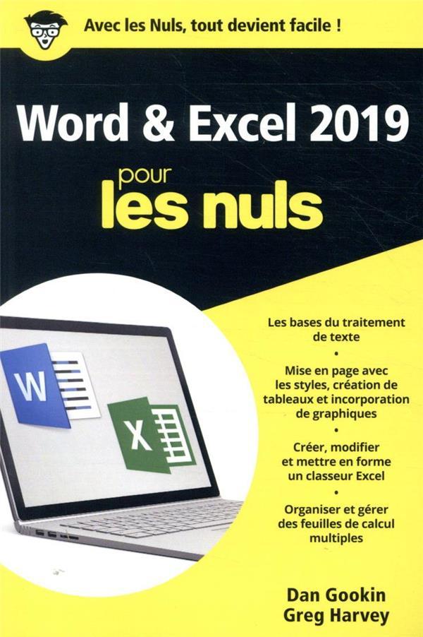WORD ET EXCEL 2019 POCHE POUR LES NULS GOOKIN/HARVEY FIRST