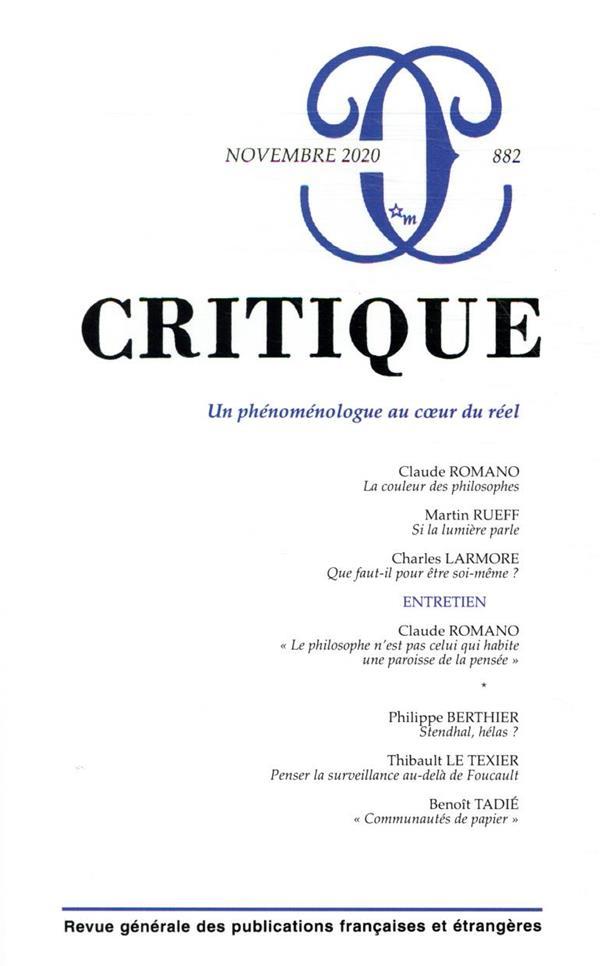 REVUE CRITIQUE N.882  -  NOVEMBRE 2020  -  UN PHENOMENOLOGUE AU COEUR DU REEL