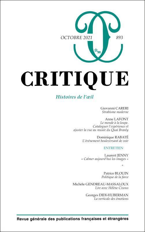 REVUE CRITIQUE N.893  -  HISTOIRES DE L'OEIL