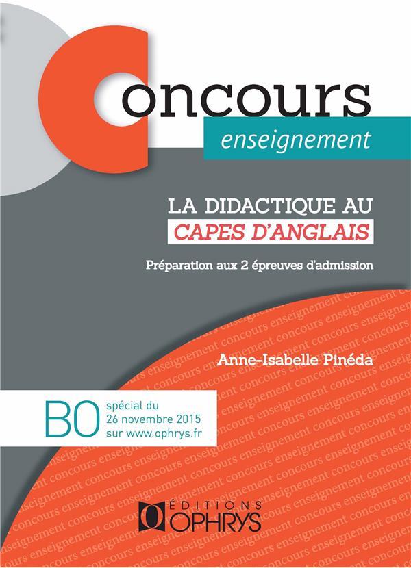 CONCOURS ENSEIGNEMENT  -  LA DIDACTIQUE AU CAPES D'ANGLAIS  -  PREPARATION AUX 2 EPREUVES D'ADMISSION