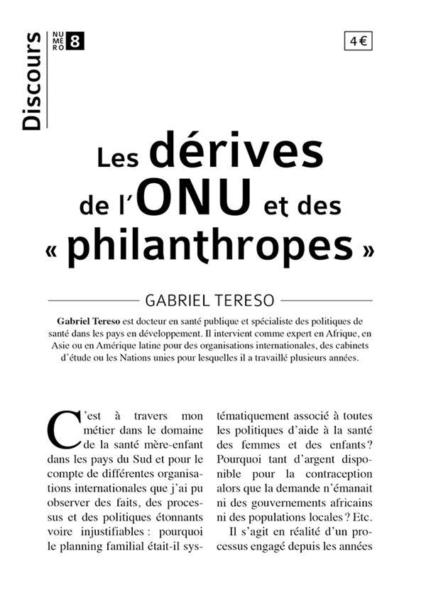 DISCOURS N.8  -  LES DERIVES DE L'ONU ET DES PHILANTHROPES