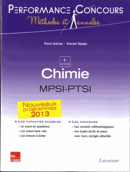 Grécias Pierre - CHIMIE 1RE ANNEE MPSI-PTSI (COLLECTION LE TOUT-EN-1)