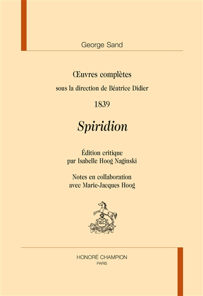 SPIRIDION. OEUVRES COMPLETES 1839  CHAMPION