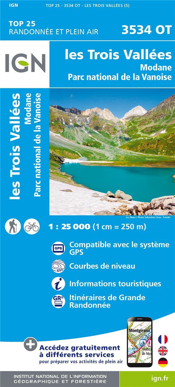 3534OT LES TROIS VALLEES, MODANE PN DE LA VANOISE  RECTO XXX MICHELIN