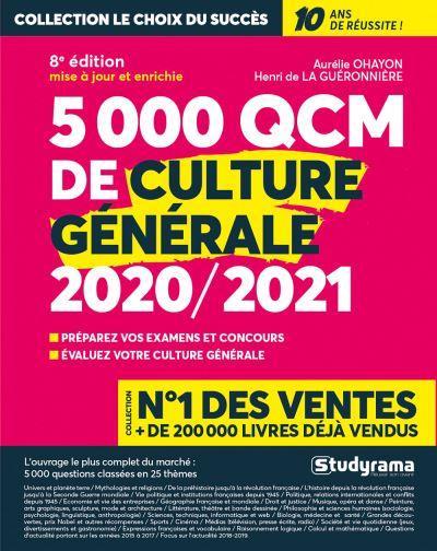 5000 QCM DE CULTURE GENERALE (EDITION 20202021) OHAYON, AURELIE  STUDYRAMA