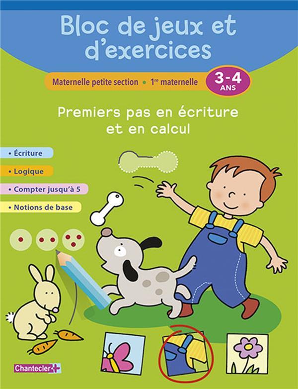 BLOC DE JEUX ET D'EXERCICES - PREMIERS PAS EN ECRITURE (3-4) COLLECTIF Chantecler