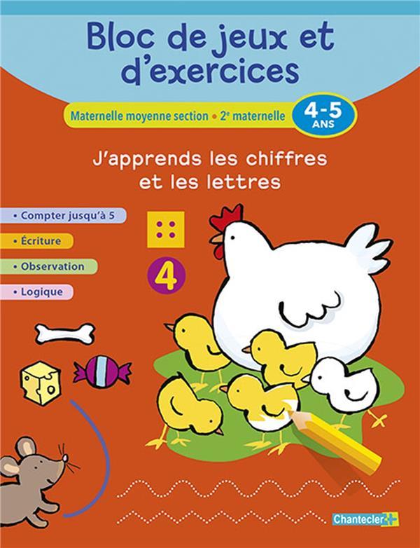 BLOC DE JEUX ET D'EXERCICES - J'APPRENDS LES CHIFFRES (4-5) COLLECTIF Chantecler
