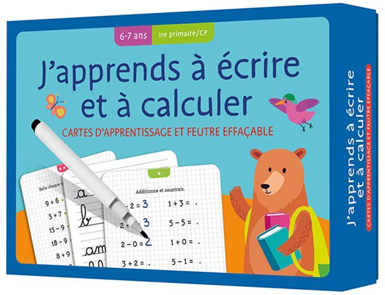 CARTES + FEUTRE - J'APPRENDS A ECRIRE ET A CALCULER (6-7 A.) 1RE PRIMAIRE