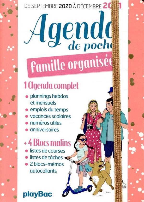 AGENDA DE POCHE DE LA FAMILLE ORGANISEE 2021 - ROSE (DE SEPT 2020 A DECEMBRE 2021)