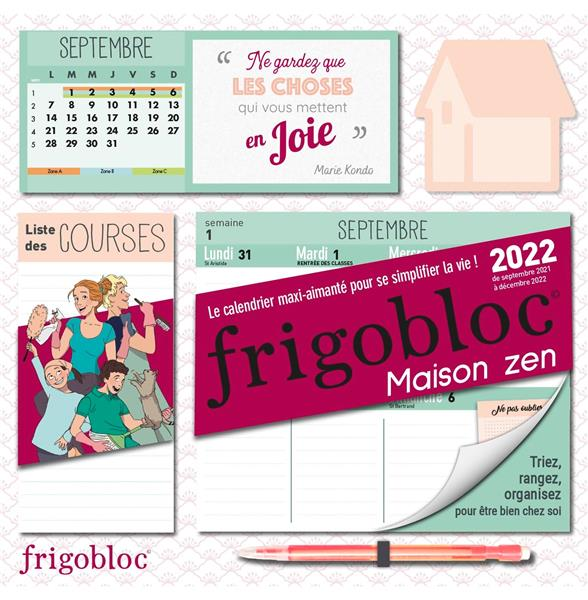FRIGOBLOC HEBDOMADAIRE MAISON ZEN 2022 - 16 MOIS - (DE SEPT. 2021 A DEC. 2022) COLLECTIF NC