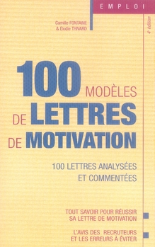 100 MODELES DE LETTRES DE MOTIVATION (5E EDITION) FONTAINE CAMILLE STUDYRAMA