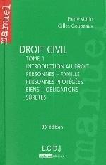 DROIT CIVIL, TOME 1: PERSONNES, FAMILLE, PERSONNES PROTEGEES,BIENS,OBLIGATIONS,SURETES,33EME EDITION
