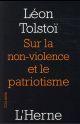 SUR LA NON VIOLENCE ET LE PATRIOTISME